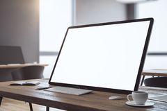 Creative desk with white computer royalty free illustration