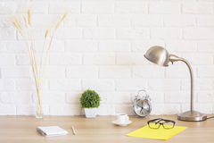 Creative desktop with various items Royalty Free Stock Image