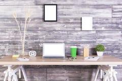 Creative desktop white laptop Stock Photography