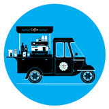 Creative detailed vector coffee street truck, three colours de. Sign on three layers, easy to change colours. Espresso machine, disposable cups and more stock illustration