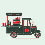 Creative detailed vector coffee street truck, three colours. Design on three layers, easy to change colours. Espresso machine, disposable cups and more royalty free illustration