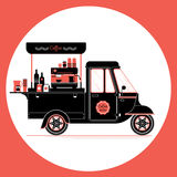 Creative detailed vector coffee street truck, three colours. Design on three layers, easy to change colours. Espresso machine, disposable cups and more vector illustration