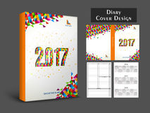 Creative Diary Cover design for 2017. Colorful abstract design decorated, Diary Cover, Personal Organizer or Notebook template layout for the year 2017 Stock Photography
