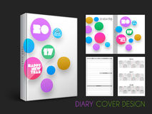 Creative Diary Cover design. Colorful circles decorated, Diary Cover design for New Year, 2017 Royalty Free Stock Photo