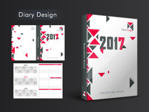 Creative Diary Cover design for 2017. Creative Diary Cover, Personal Organizer or Noterbook template layout for 2017 year Royalty Free Stock Photo