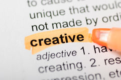 Creative. Dictionary definition of creative, highlighted with pink marker royalty free stock images