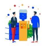 Creative digital Agency office. People in the workspace met at the water cooler. vector illustration