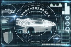 Artificial intelligence, transport and future concept. Creative digital car interface background. Artificial intelligence, transport and future concept. 3D stock illustration