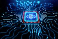 Creative digital circuit eye texture stock illustration