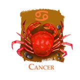 Creative digital illustration of astrological sign Cancer. Fourth of twelve signs in zodiac. Horoscope water element. Logo sign with crab. Graphic design clip stock illustration