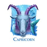 Creative digital illustration of astrological sign Capricorn. Tenth of twelve signs in zodiac. Horoscope earth element. Logo sign with sea-goat. Graphic design stock illustration