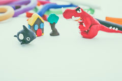 Creative dinosaur, whale, house and tree clay model. Play dough Royalty Free Stock Photos