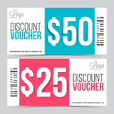 Creative Discount Voucher or Coupon design. Creative Discount Voucher or Gift Coupon set with space for your professional image, Vector illustration royalty free illustration