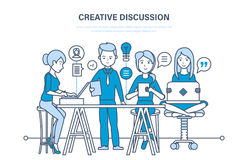 Creative discussion. Business team, teamwork collaboration, communication, exchange important information. Creative discussion concept. Business team, office stock illustration