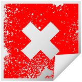A creative distressed square peeling sticker symbol multiplication symbol. An original creative distressed square peeling sticker symbol multiplication symbol stock illustration