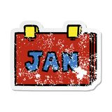 A creative distressed sticker cartoon doodle of a calendar with jan. An original creative distressed sticker cartoon doodle of a calendar with jan royalty free illustration
