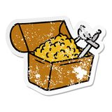 A creative distressed sticker cartoon doodle of a treasure chest. An original creative distressed sticker cartoon doodle of a treasure chest vector illustration