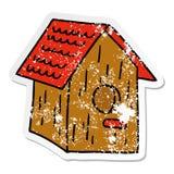 A creative distressed sticker cartoon doodle of a wooden bird house. An original creative distressed sticker cartoon doodle of a wooden bird house vector illustration
