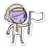 A creative distressed sticker of a cartoon pretty astronaut girl planting flag. An original creative distressed sticker of a cartoon pretty astronaut girl royalty free illustration
