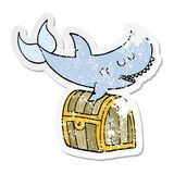 A creative distressed sticker of a cartoon shark swimming over treasure chest. An original creative distressed sticker of a cartoon shark swimming over treasure stock illustration