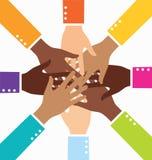 Creative Diversity Teamwork Business Hand. Creative Colorful Diversity Teamwork Business Hand Royalty Free Stock Photos
