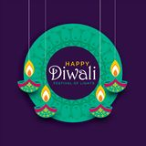 Creative diwali festival poster design background. Vector stock illustration