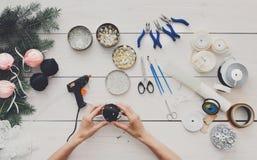Creative diy hobby. Handmade christmas decoration, balls and garland Royalty Free Stock Image