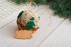 Creative diy hobby. Handmade craft christmas decoration ball Royalty Free Stock Photography