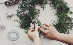 Creative diy hobby. Handmade craft christmas decoration, ornament and garland Royalty Free Stock Photo