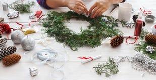 Creative diy hobby. Handmade craft christmas decoration, ornament and garland Royalty Free Stock Photography