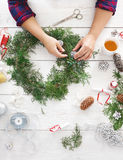 Creative diy hobby. Handmade craft christmas decoration, ornament and garland. Creative diy craft hobby. Making handmade craft christmas ornaments and fir tree Stock Photos