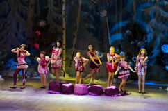 Creative. DNIPROPETROVSK, UKRAINE - DECEMBER 19: Unidentified girls, ages 6-14 years old, perform MADEMOISELLE at the State Palace of children and youth on Royalty Free Stock Photos