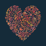 Creative doodle watercolor heart on the dark. Background for greeting card Royalty Free Stock Photo