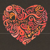 Creative doodle watercolor heart on the dark. Textured background for greeting velentine card Stock Image