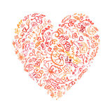 Creative doodle watercolor heart. For greeting card Stock Images