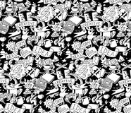 Creative doodles idea brainstorm black white seamless pattern. Stock Image