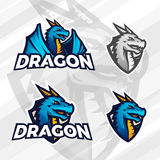 Creative dragon logo concept. Sport mascot design. College league insignia, Asian beast sign, Dragons illustration Stock Photos