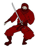 Creative draw of red ninja Stock Images