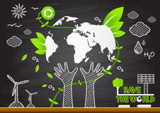 Creative drawing. Green world map global ecological concepts Royalty Free Stock Photography