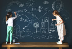 Creative Drawing Imagination Girl Blackboard Concept Stock Images
