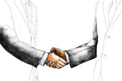 Creative drawing sketch of two businessman shaking hand each other. For make a deal after the agreement isolated on white background royalty free stock photo