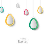 Creative Easter background. Abstract egg festive decoration. Vec. Tor holiday layout for poster, flyer or newsletter. Paper shapes banner Royalty Free Stock Image