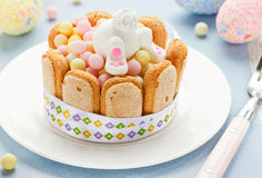 Creative edible gift for kids on holiday Easter. Sweet bunny and Stock Photos