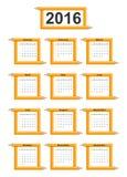Creative education calendar 2016 year design template. Stock Image