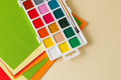 Creative education with colored papper and paints Stock Photography