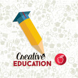 Creative education concept illustration. Back to school concept with creative pencil shape illustration and education icons seamless pattern background. EPS10 Stock Image