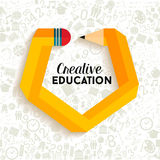 Creative education concept illustration. With impossible pencil shape. Back to school icons seamless pattern background. EPS10 vector file Royalty Free Stock Photography