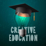 Creative education design, bulb with mortarboard Stock Image