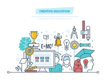 Creative education. Training, creativity distance learning, technology, knowledge, teaching, skills. Creativity, creative thinking smart education Illustration Stock Images