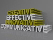 Creative effective innovative communicative words. 3D graphic with business and management buzzwords creative, effective, innovative, communicative Royalty Free Stock Images